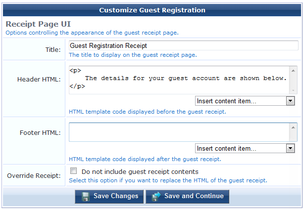 editing guest receipt page properties