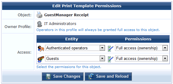 Setting Print Template Permissions