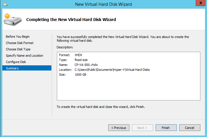 Add a Hard Disk to the Hyper-V Virtual Appliance