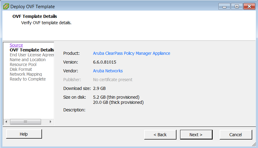 Deploy the ClearPass Image on a VMware ESXi Server