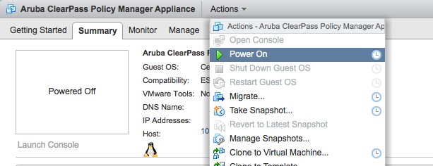Using VMware vSphere Web Client to Install ClearPass on a