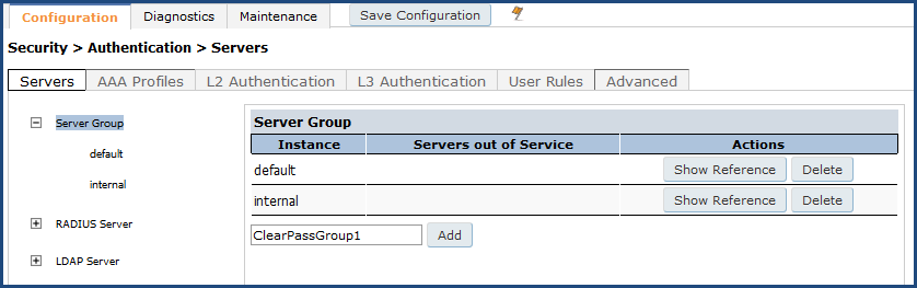 Adding the ClearPass/RADIUS Server to a Server Group