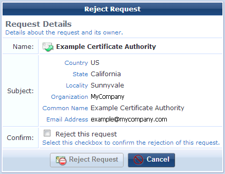 Working with certificate signing requests mark the reject this request check box to confirm that the certificate signing request should be rejected and then click the yadclub Image collections