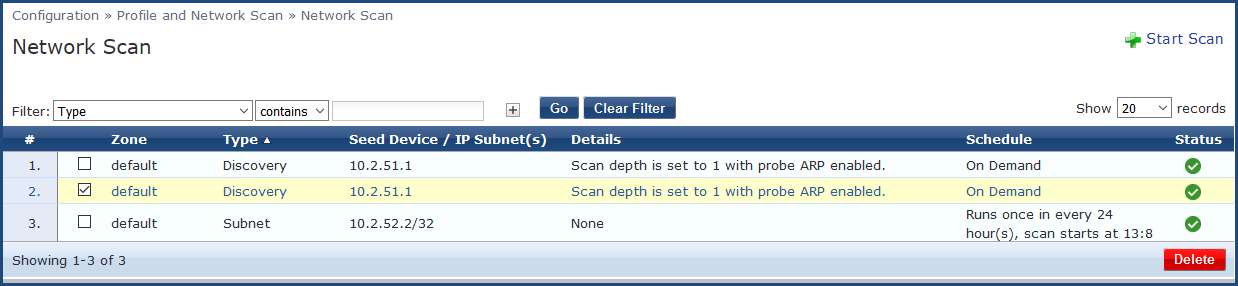 scheduling network scans and subnet scans rh arubanetworks com