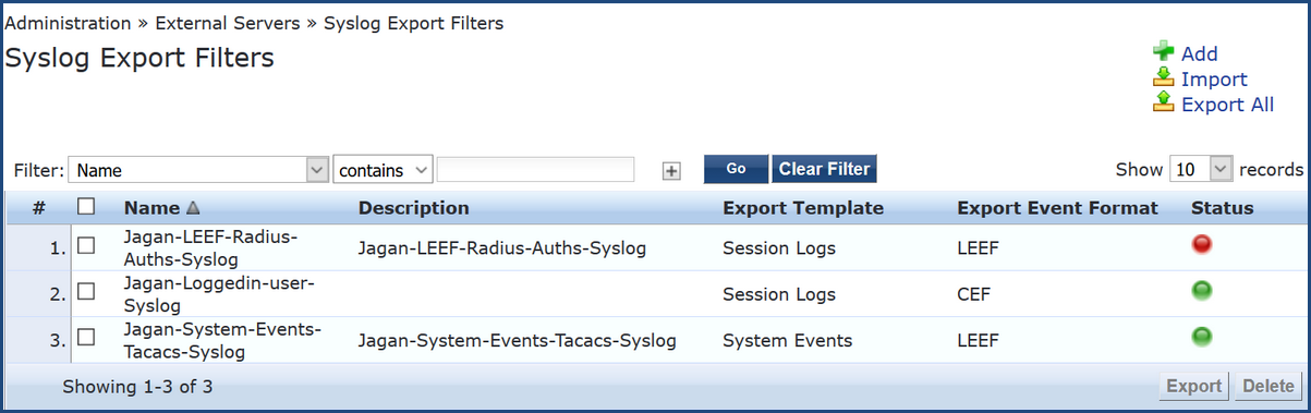 Syslog Export Filters