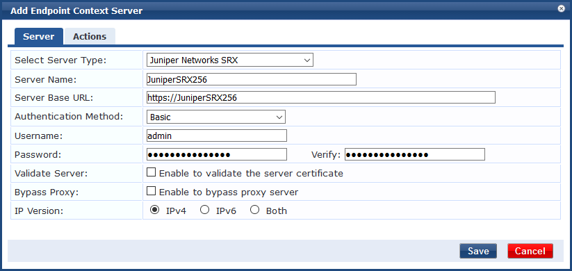 Integrating ClearPass with Juniper Networks SRX Endpoint Context Server