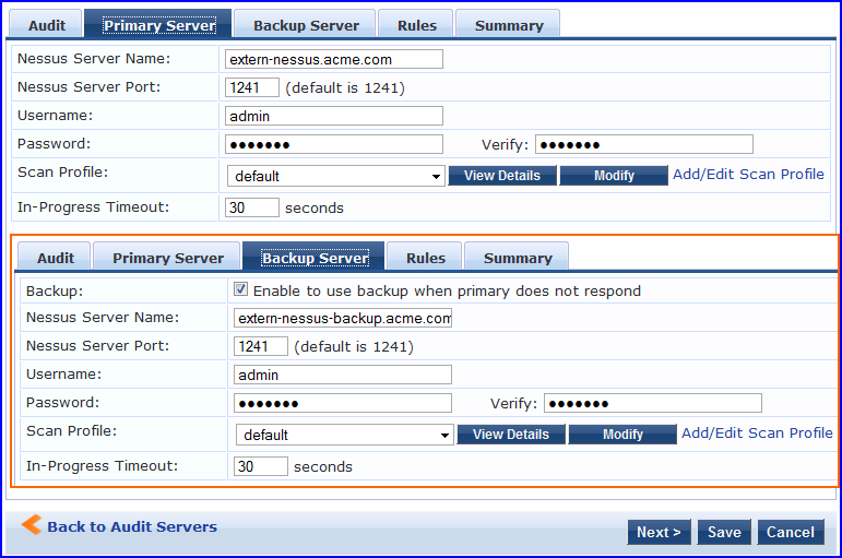 Nessus Audit Server
