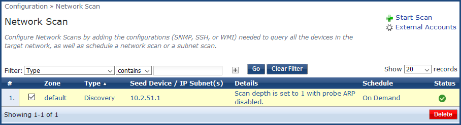 Configuring Network Scans and Subnet Scans