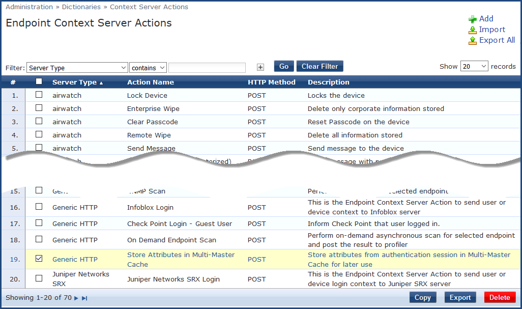 Endpoint Context Server Actions