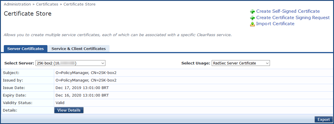 certificate server describes parameters following table