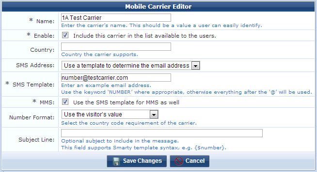 Working with the Mobile Carriers List