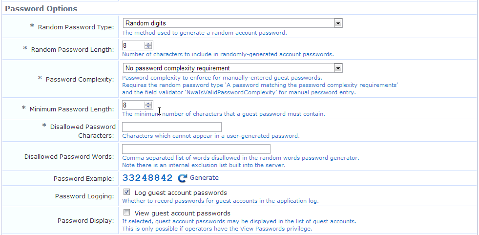 Default Settings for Account Creation