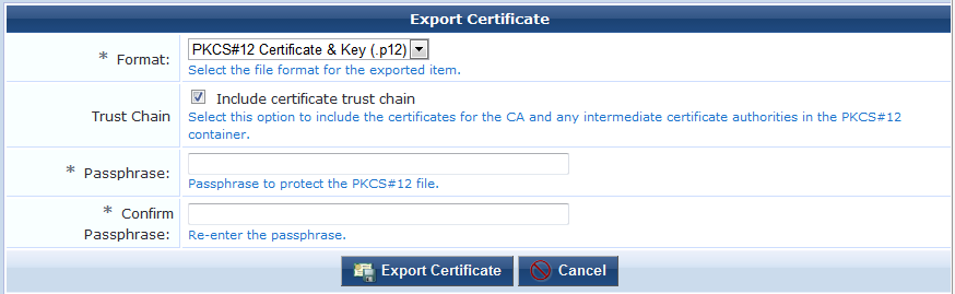 use the format drop down list to select the format in which the certificate should be exported the following formats are supported