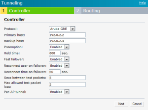 Enabling Automatic Configuration of Aruba GRE Tunnel