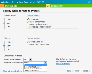 Configuring Wireless Intrusion Protection and Detection Levels