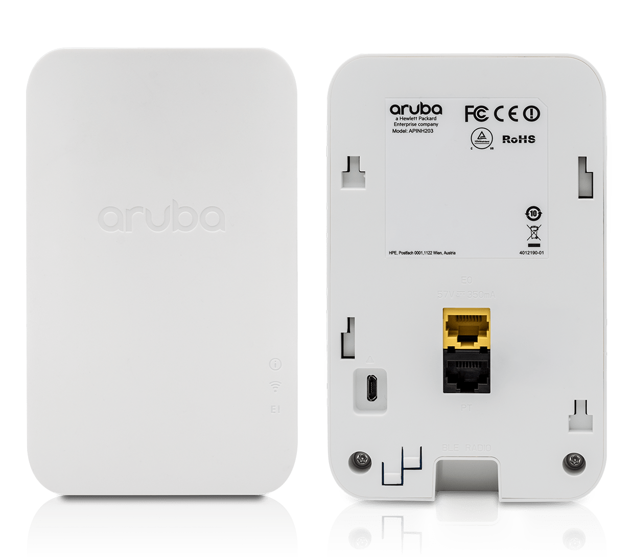 Details and specifications for the Aruba 203H Series APs