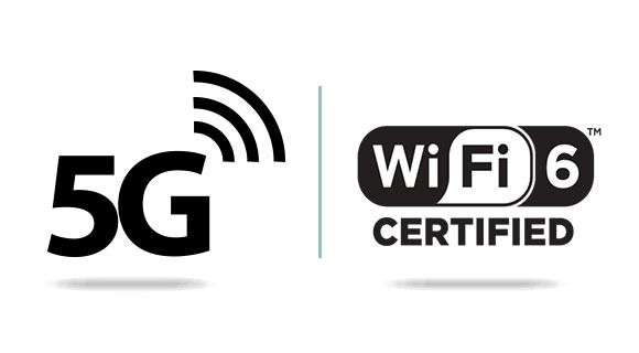 Logos of 5G and Wi-Fi 6 standards