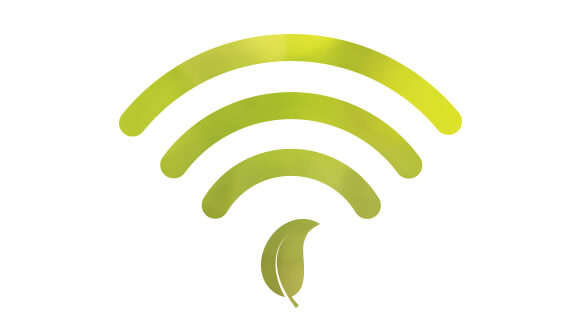 Green Wi-Fi logo with leaf