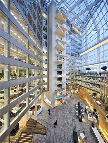 The most sustainable building in the world, the Edge uses 70% less energy than a standard office building