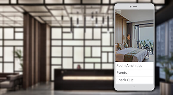 Mobile app being viewed inside a hotel