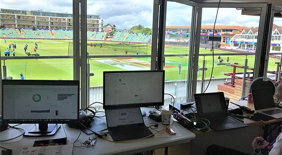 Aruba network management screens at SCCC during a cricket game