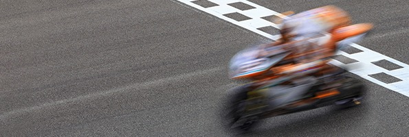 Motorcyclist finishing the race