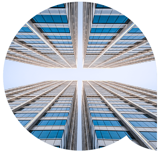 Tall office buildings viewed from the ground