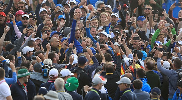 Fans using mobile phones at Ryder Cup Europe