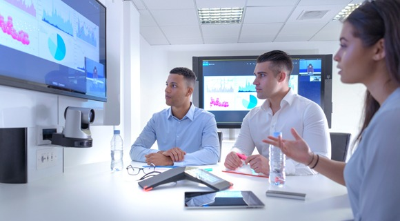 Employees in a video conference