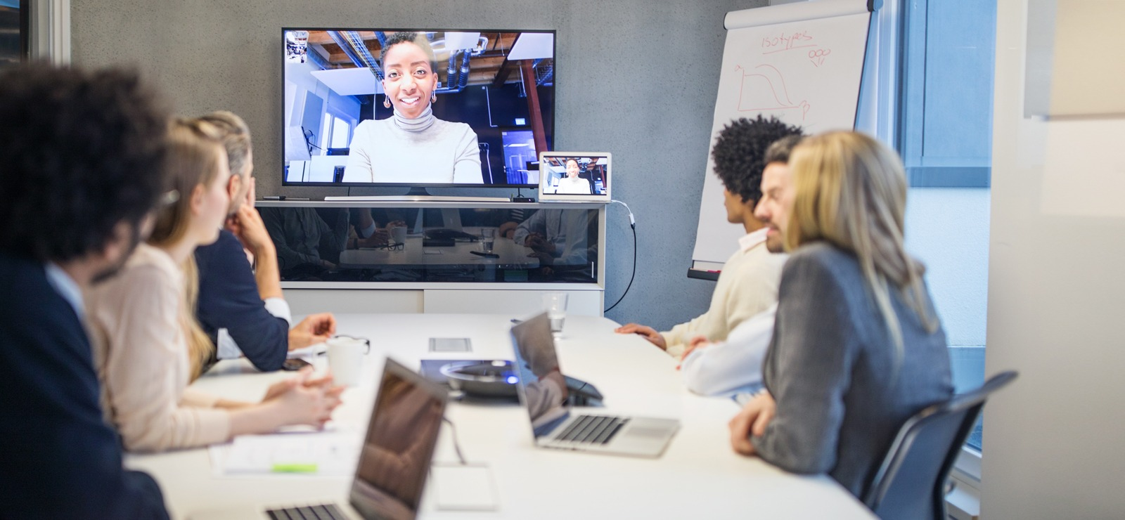 Employees during a video conference